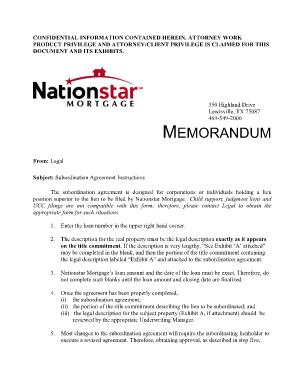 Nationstar Subordination Requirements