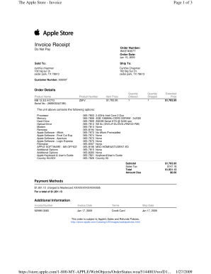 Fillable Online Oocities The Apple Store Invoice Oocities Fax - Free editable invoice template atandt online store