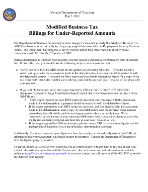 Nv Modified Business Tax Printable Form 2012 - Fill Online ...