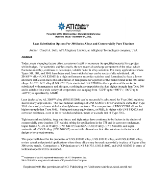 Alloy Substitution The Switch Is On - Allegheny Technologies