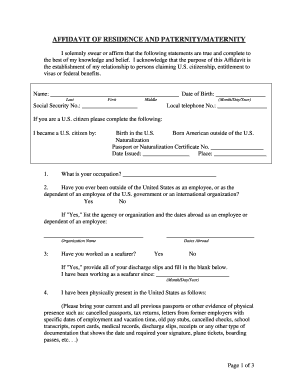 Residence Paternity - Fill Online, Printable, Fillable, Blank ...