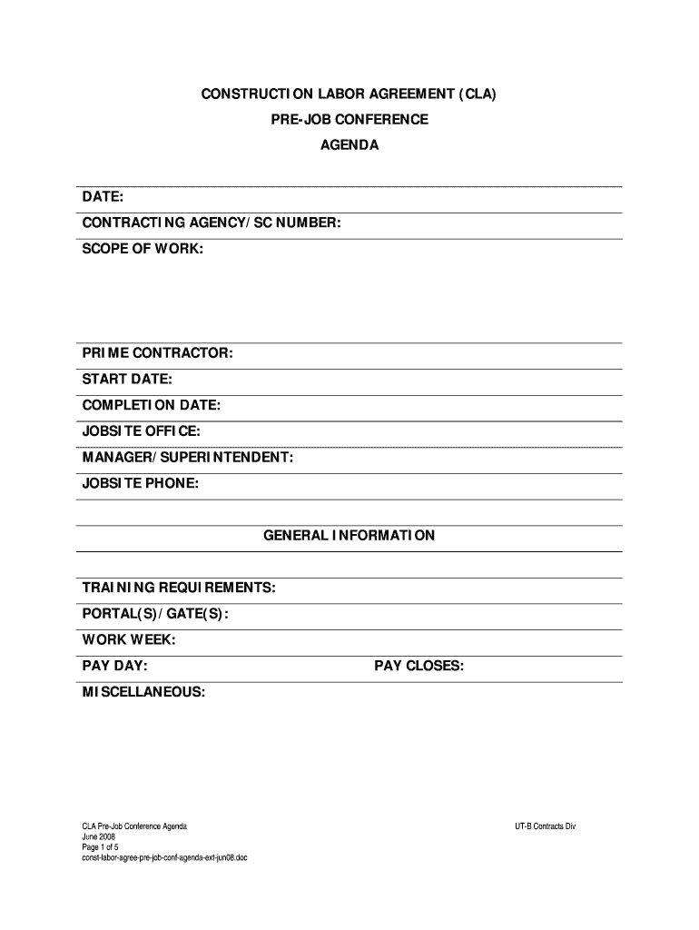 Job Agreement Form Fill Online Printable Fillable Blank