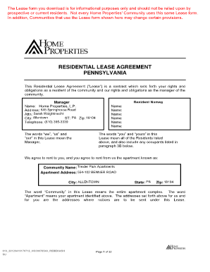 printable lease agreement pa  Pa Lease Agreement Fillable - Fill Online, Printable, Fillable ...