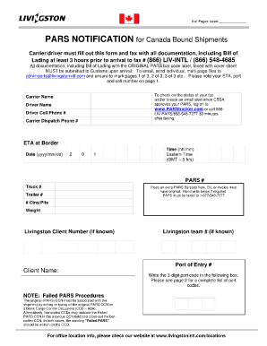 pars notification form
