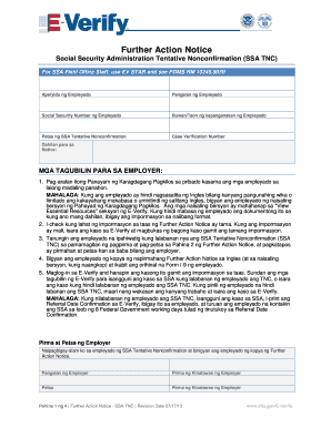 Fillable Online uscis SSA Further Action Notice in Tagalog