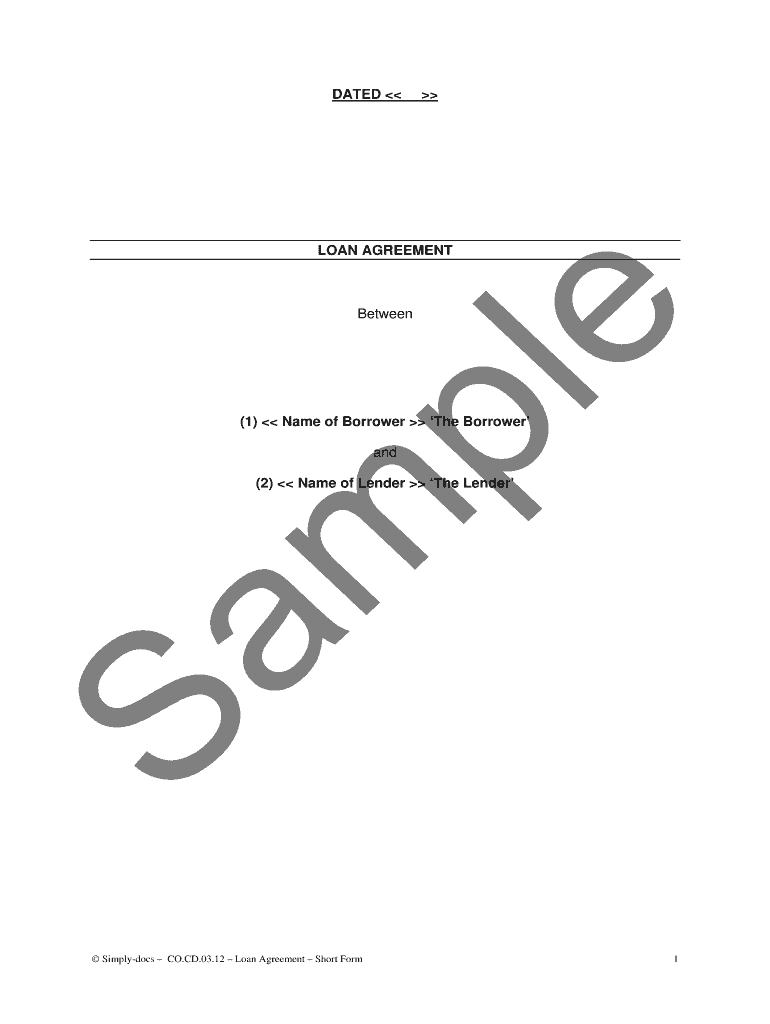 Simple Loan Agreement Sample from www.pdffiller.com