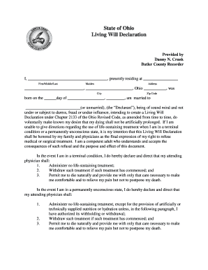 Living Will Butler County Ohio - Fill Online, Printable, Fillable ...