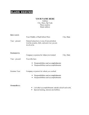 blank cv forms