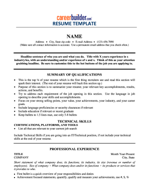 Fill In The Blank Resume Pdf Fill Online Printable Fillable