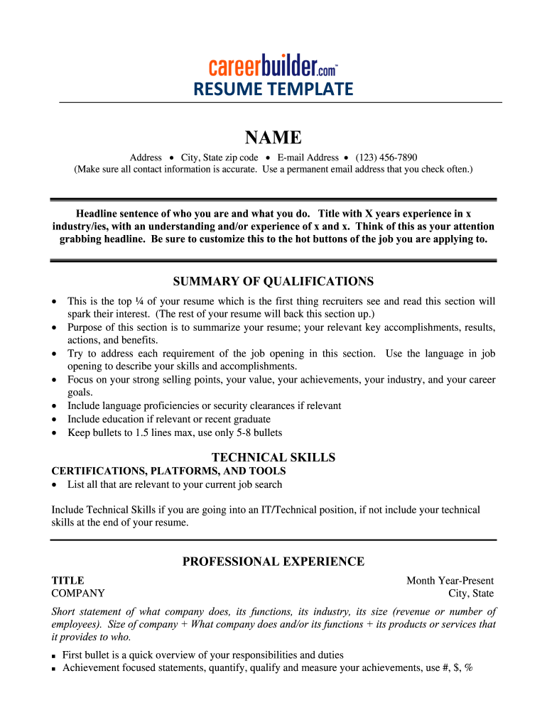 Fill In The Blank Resume Pdf Fill Online Printable