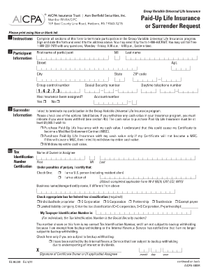 Gerber Life Policy Surrender Form Fill Online Printable Fillable
