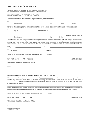 Declaration Of Domicile California - Fill Online, Printable ...
