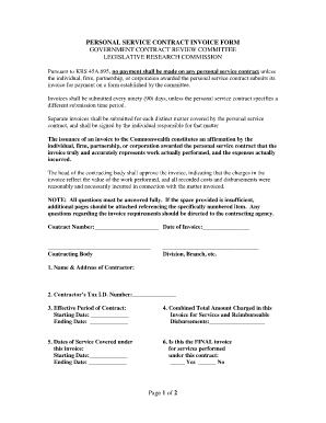 Kentucky Transportation Personal Service Contract Invoice Fill - Invoice for transportation services