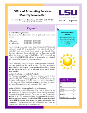 Office of Accounting Services Monthly Newsletter - Finance and ... - fas lsu