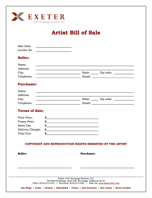 artist bill of sale template fill online printable fillable
