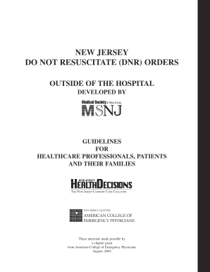 Do Not Resuscitate Form Nj - Fill Online, Printable, Fillable ...