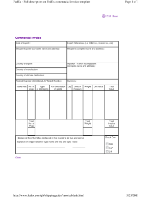 Editable Fedex Invoice Template Fill Print Download Forms In - Commercial invoice fedex template