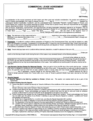 Ga Commercial Lease Agreement Fill Online Printable