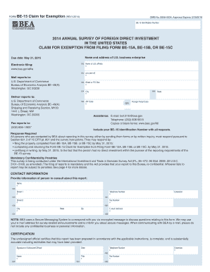 FORM BE-15 Claim for Exemption REV12014 2014 ANNUAL