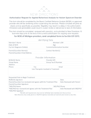 Authorization Request for Applied Behavioral Analysis for Autism Spectrum Disorder