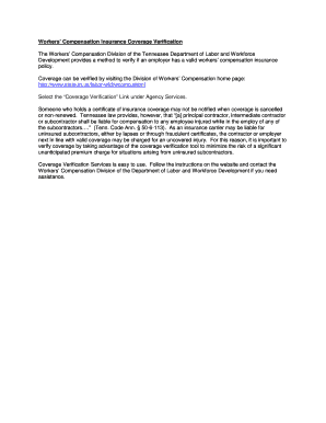 workers compensation insurance verification - Fill Out ...