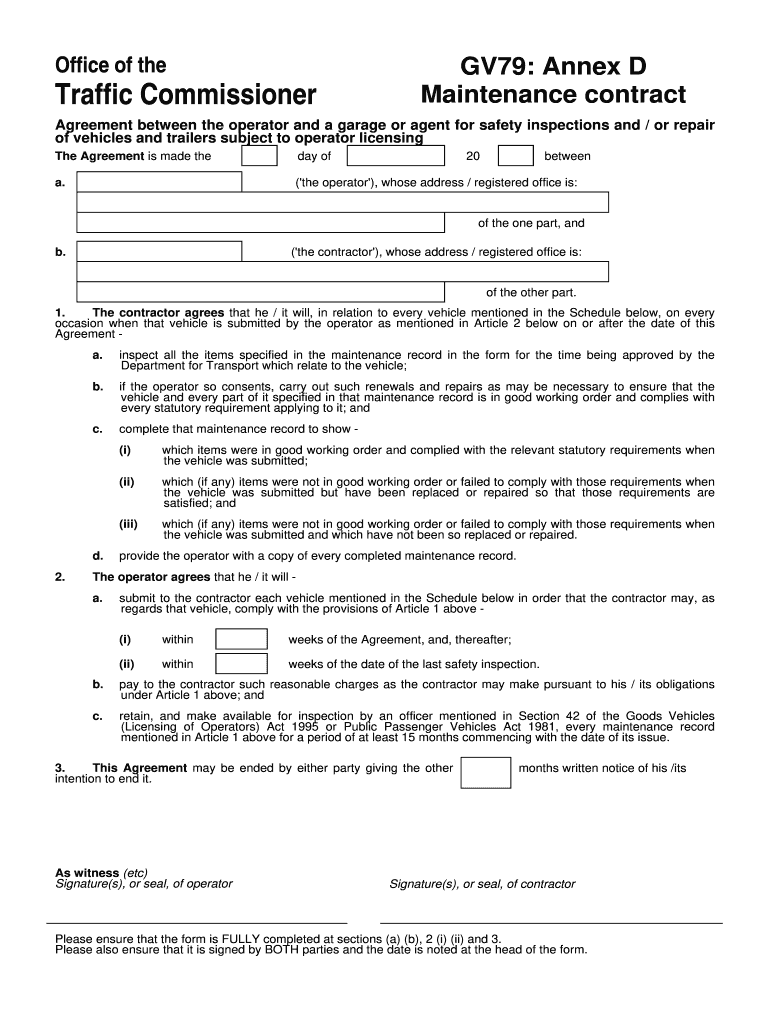 Uk Gv79 Annex D Maintenance Contract Fill And Sign Printable Template Online Us Legal Forms