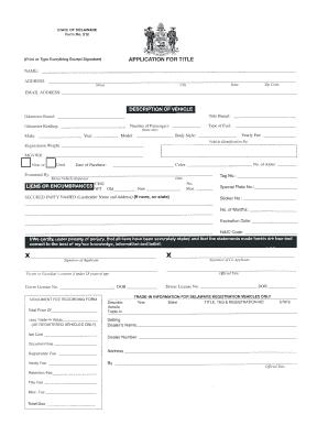 Delaware application title fill online printable for Bureau of motor vehicles delaware ohio