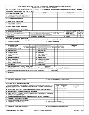 1998 form dd 626 fill online printable fillable blank for Motor vehicle inspection form