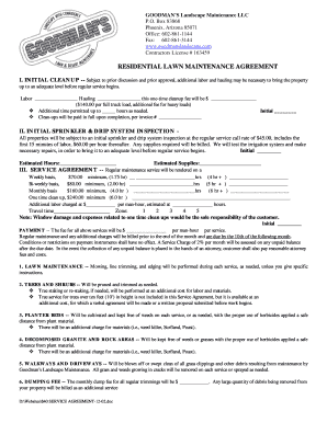 Sample Lawn Service Contract  Maintenance Contract Sample