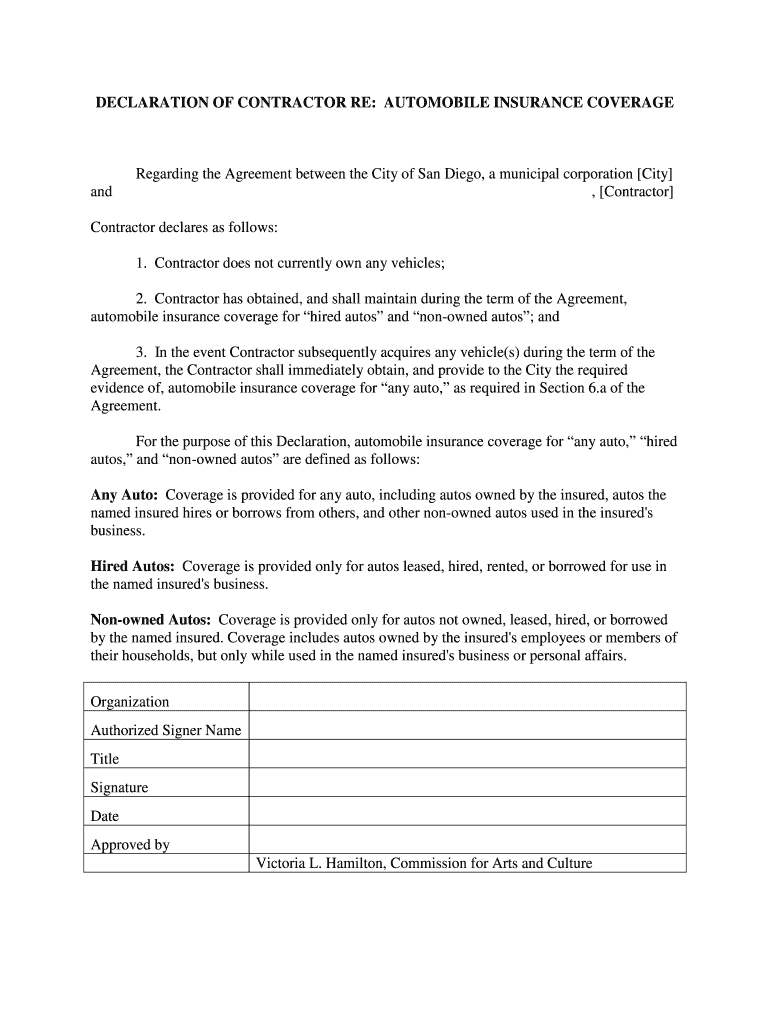 Insurance Declaration Page Template 2020 - Fill and Sign ...