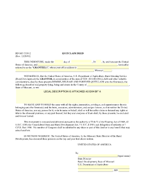 State Bar Michigan Quit Claim Deed Rural - Fill Online, Printable ...
