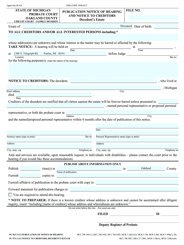 Oakland County Form Notice To Creditors - Fill Online, Printable