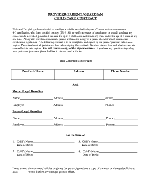 Daycare contracts fill online printable fillable blank pdffiller child care contract sample form maxwellsz