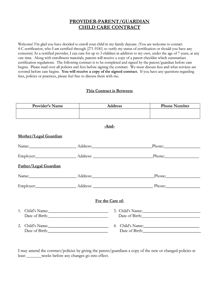 graphic about Babysitter Forms Printable Free referred to as Youngster Treatment Agreement Pattern - Fill On-line, Printable