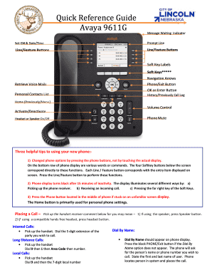 avaya 9611g quick reference guide