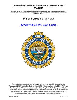 Fillable Online oregon DPSST FORMS F-2T amp F-2TA EFFECTIVE