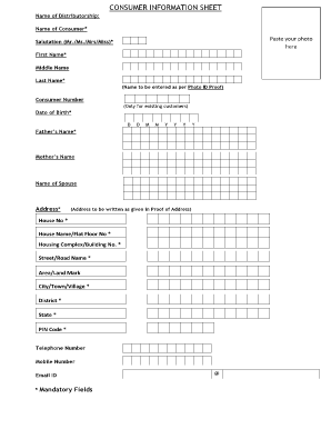 Consumer Information Sheet Form Filled Up