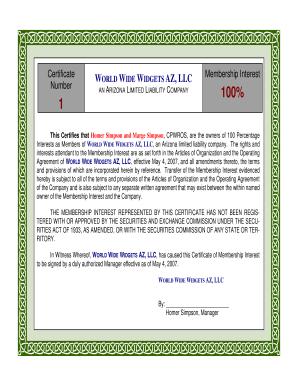 Membership Certificate Llc Templatepdffillercom Fill Online - Llc stock certificate template