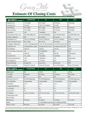 Fillable Seller Closing Costs Statement - Fill Online, Printable ...