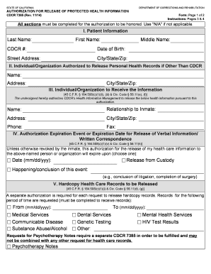 Fillable Online cdcr ca CDCR Form 7385 Authorization for