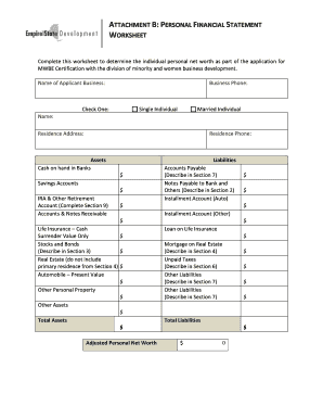Personal Financial Statement Worksheet Fill Online Printable
