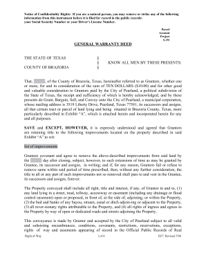 Texas General Warranty Deed Form - Fill Online, Printable ...