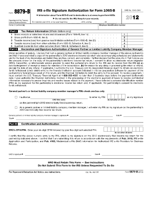 form 1065 online filing  Fillable Online irs IRS e-file Signature Authorization for ...