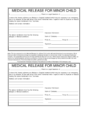 child medical release form Wa Medical Release For Minor Child - Fill Online, Printable ...