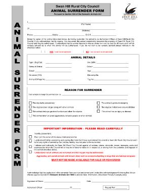 Fillable Online SPCA Pet Surrender Form - Allen County SPCA Fax ...