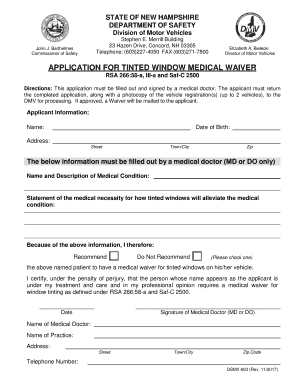 Medical waiver definition forms and templates fillable for Department of motor vehicles concord new hampshire