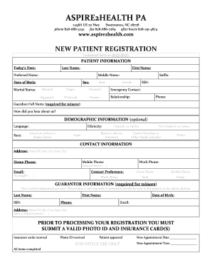 New Patient Registration Form Template from www.pdffiller.com