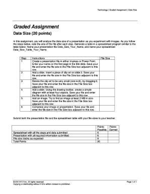 Technology Graded Assignment Data Size
