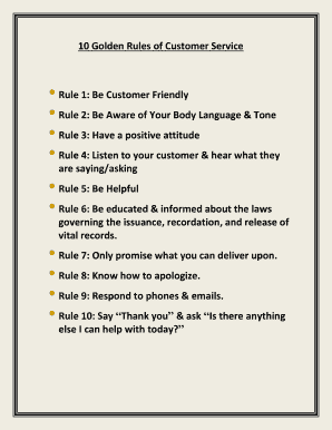 graphic relating to Golden Rule Printable identified as 10 Golden Guidelines of Buyer Company Rule 1 Be Consumer Fill