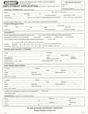photograph relating to Printable Job Applications for Subway named Subway Software package Style - Fill On the web, Printable, Fillable